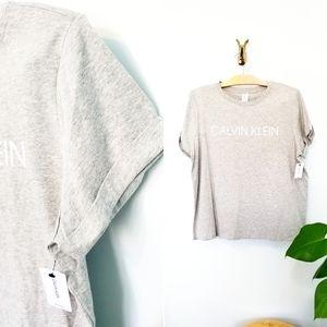 Calvin Klein // Grey Rolled Short Sleeves Boxy Tee
